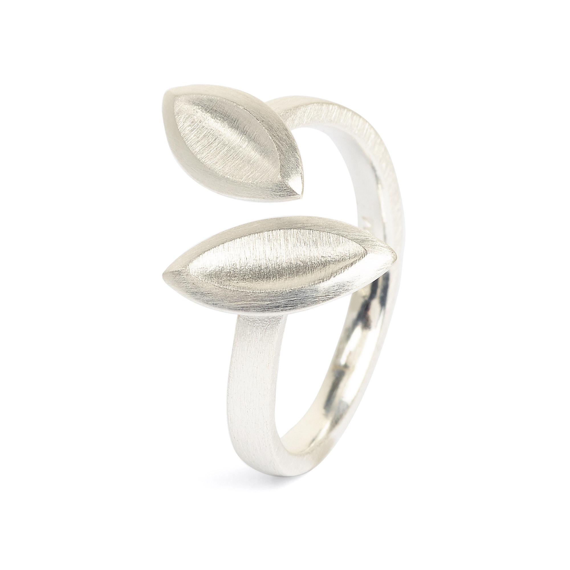 Band Ring, Facetten Design, Silber 925 poliert