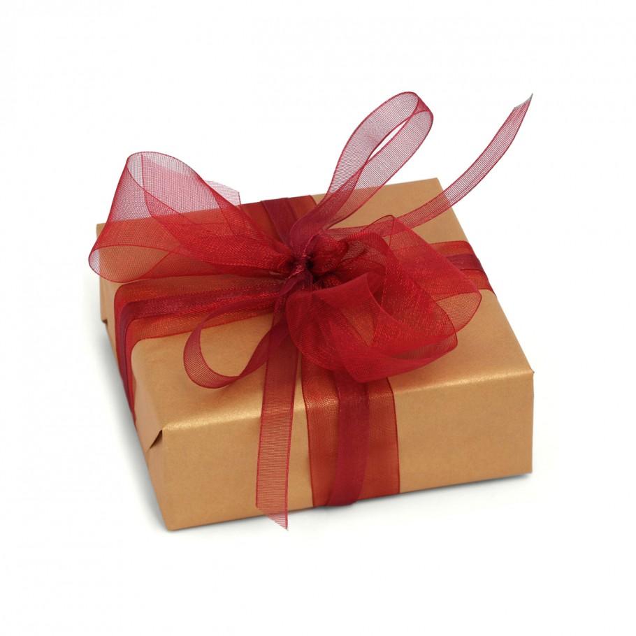Geschenkverp.+Banderole gold+Schleife rot